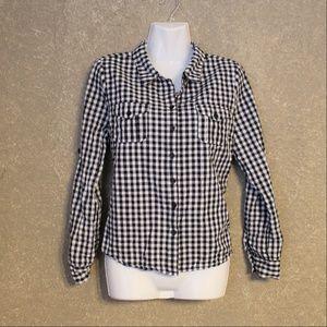 Sugar Rain Black Gingham Button Down Shirt